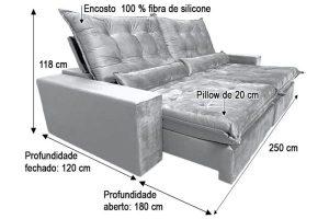 Sofá Retrátil Reclinável 2.50m - Modelo Cairo Cinza