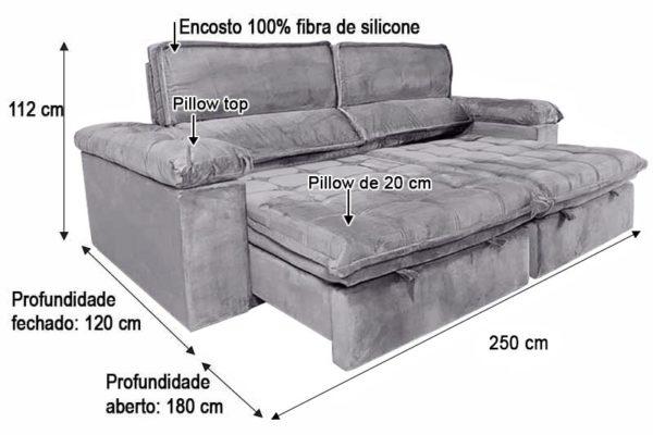 Sofá Retrátil Reclinável 2.50m - Modelo Florida Cinza