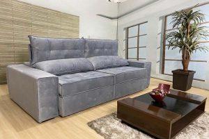 Sofá Retrátil Reclinável 2.50m - Modelo Quebec Cinza