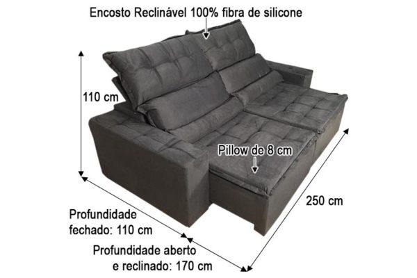 Sofá Retrátil Cinza 2.50 m de Largura - Modelo Sandiego
