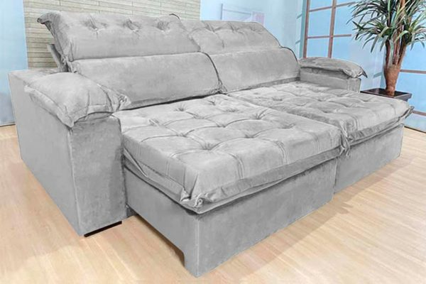 Sofá Retrátil Reclinável 2.50m - Modelo Toronto Cinza