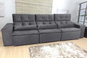 Sofá Retrátil Reclinável 2.70m - Modelo Petros Cinza