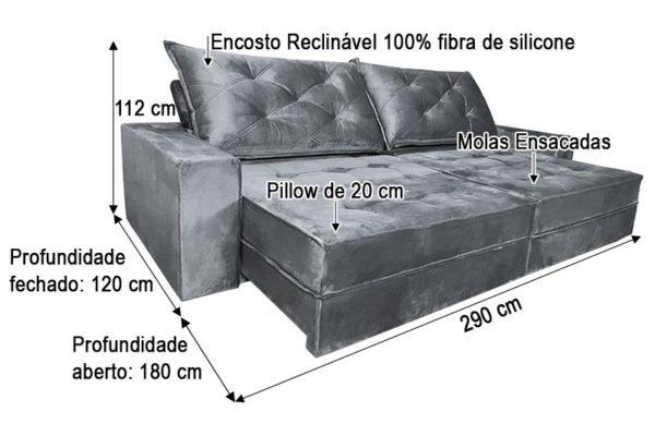 Sofá Retrátil Reclinável 2.90m - Modelo Apolo Cinza