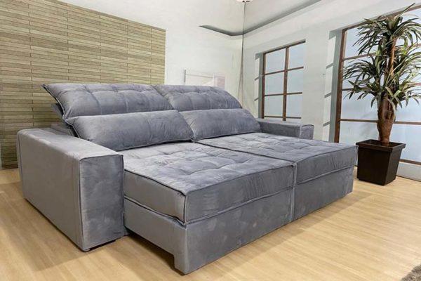 Sofá Retrátil Reclinável 2.90m - Modelo Coliseu Cinza