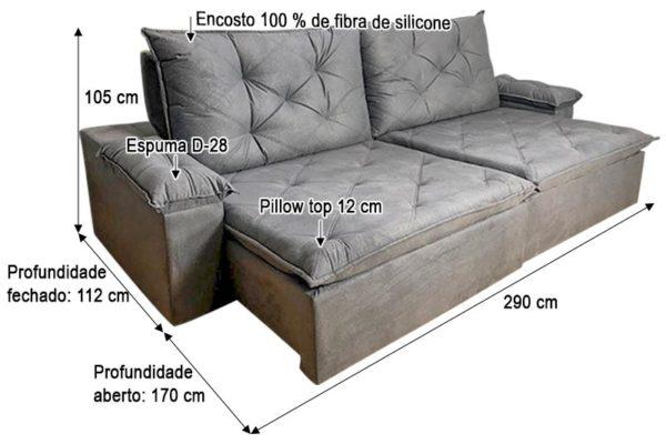 Sofá Retrátil Reclinável 2.90m - Modelo Líbano Cinza
