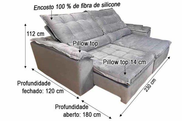 Sofá Retrátil Reclinável 2.30m - Modelo Florença Cinza