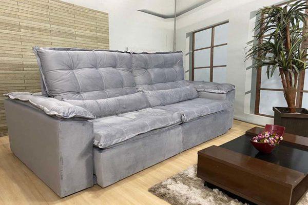 Sofá Retrátil Reclinável 2.50m - Modelo Rafaele Cinza