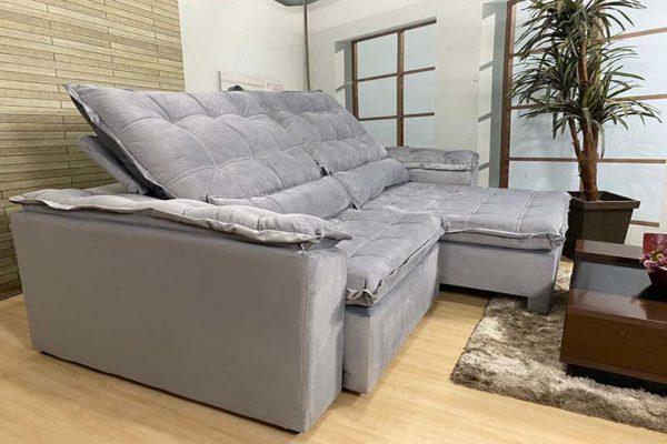 Sofá Retrátil Reclinável 2.90m - Modelo Fernanda Cinza