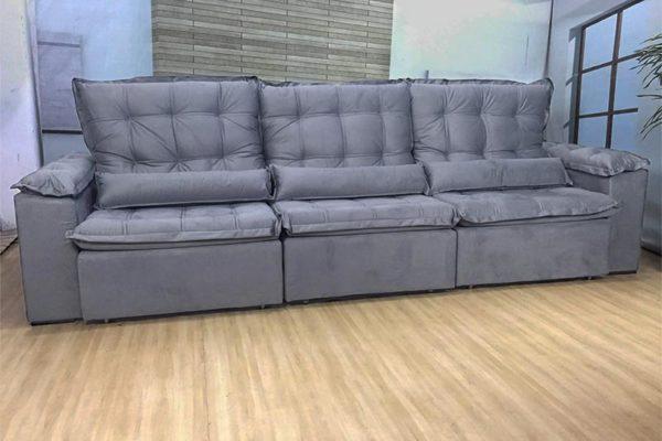 Sofá Retrátil Reclinável 3.20m - Modelo Berlim Cinza
