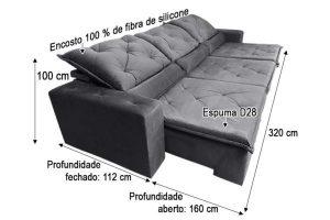 Sofá Retrátil Reclinável 3.20m - Modelo Eros Cinza