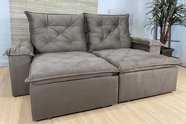 Sofá Retrátil Reclinável 2.10m - Modelo Ibiza Marrom