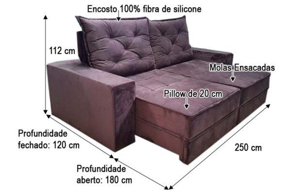 Sofá Retrátil Reclinável 2.50m - Modelo Bariloche Marrom