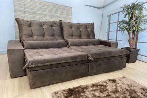 Sofá Retrátil Reclinável 2.50m - Modelo Cairo Marrom