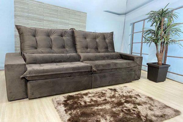 Sofá Retrátil Reclinável 2.30m - Modelo Nairóbi Marrom