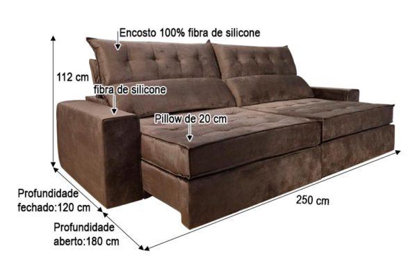 Sofá Retrátil Reclinável 2.50m - Modelo Quebec Marrom