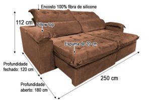 Sofá Retrátil Reclinável 2.50m - Modelo Toronto Marrom