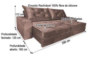 Sofá Retrátil Reclinável 2.90m - Modelo Apolo Marrom