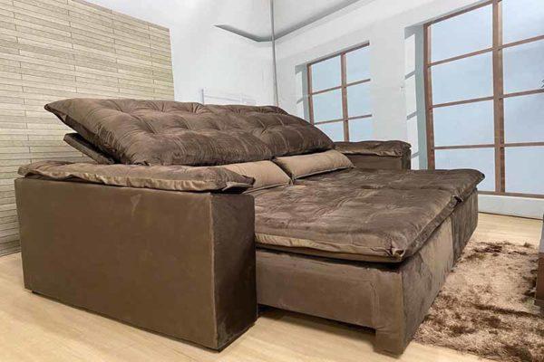 Sofá Retrátil Reclinável 2.90m - Modelo Fernanda Marrom