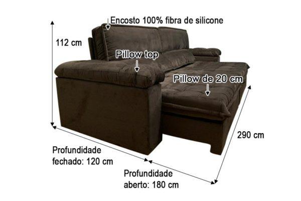 Sofá Retrátil Reclinável 2.90m - Modelo Santoré Marrom