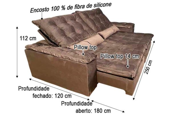 Sofá Retrátil Reclinável 2.50m - Modelo Rafaele Marrom