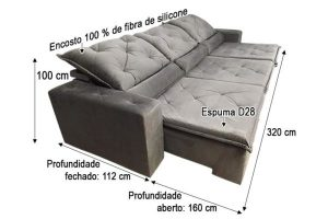 Sofá Retrátil Reclinável 3.20m - Modelo Eros Marrom