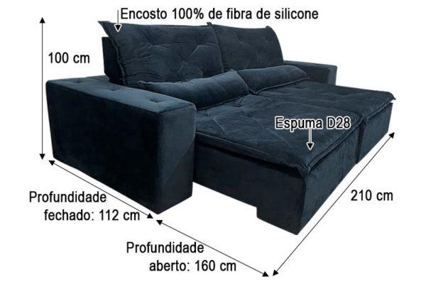 Sofá Retrátil Preto 2.10 m de Largura - Modelo Esplendor - Medidas