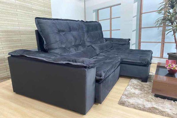 Sofá Retrátil Reclinável 2.30m - Modelo Florença Preto