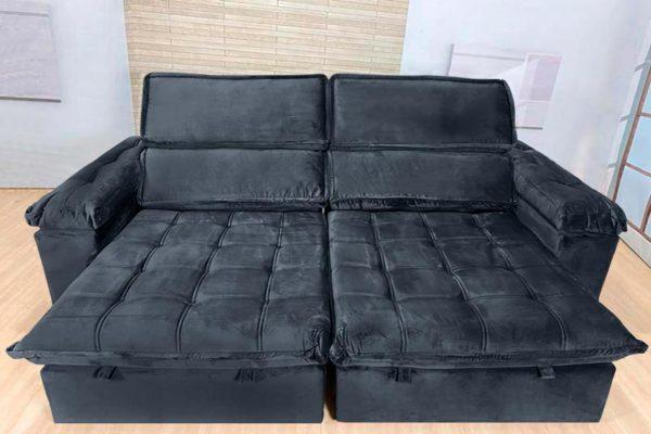 Sofá Retrátil Reclinável 2.30m - Modelo Cancún Preto
