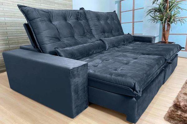 Sofá Retrátil Reclinável 2.30m - Modelo Nairóbi Preto