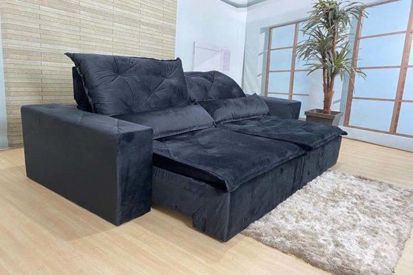Sofá Retrátil Reclinável 2.30m - Modelo Ômega Preto