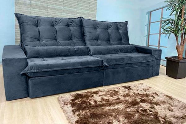 Sofá Retrátil Reclinável 2.50m - Modelo Cairo Preto