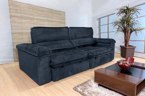 Sofá Retrátil Reclinável 2.50m - Modelo Florida Preto