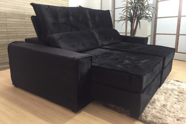 Sofá Retrátil Reclinável 2.50m - Modelo Quebec Preto