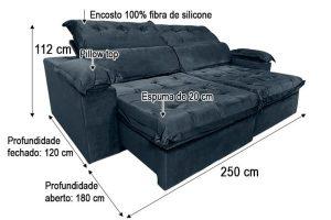 Sofá Retrátil Reclinável 2.50m - Modelo Toronto Preto