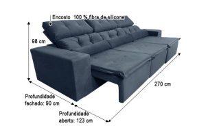 Sofá Retrátil Reclinável 2.70m - Modelo Petros Preto