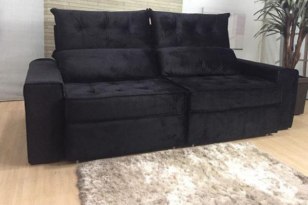 Sofá Retrátil Reclinável 2.90m - Modelo Coliseu Preto