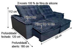 Sofá Retrátil Reclinável 2.50m - Modelo Rafaele Preto