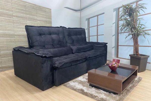 Sofá Retrátil Reclinável 2.90m - Modelo Fernanda Preto