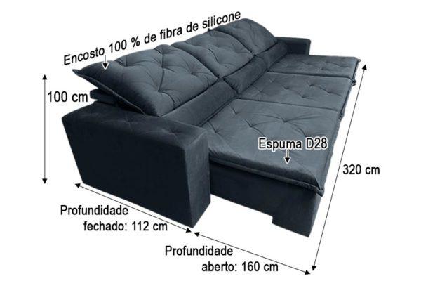 Sofá Retrátil Reclinável 3.20m - Modelo Eros Preto