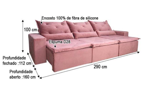 Sofá Retrátil Reclinável 2.90m - Modelo Delta Rosa