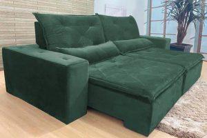 Sofá Retrátil Verde 2.10 m de Largura - Modelo Esplendor