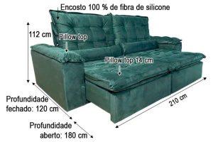 Sofá Retrátil Reclinável 2.10m - Modelo Munique Verde
