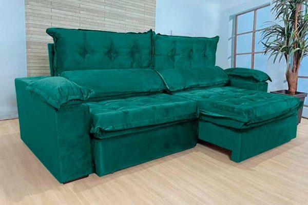 Sofá Retrátil Reclinável 2.30m - Modelo Canadá Verde