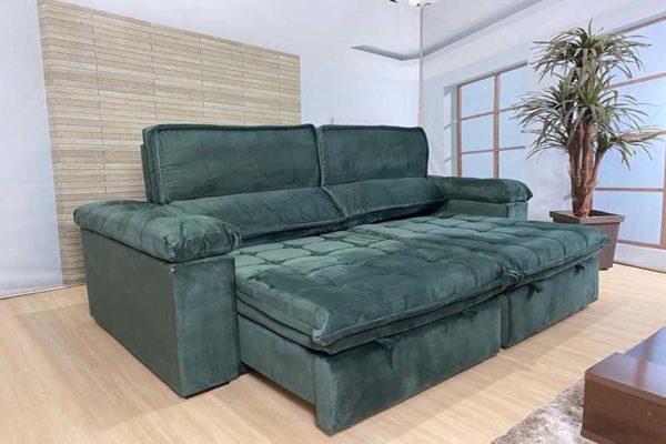Sofá Retrátil Reclinável 2.30m - Modelo Cancún Verde