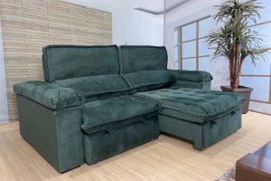 Sofá Retrátil Reclinável 2.50m - Modelo Florida Verde