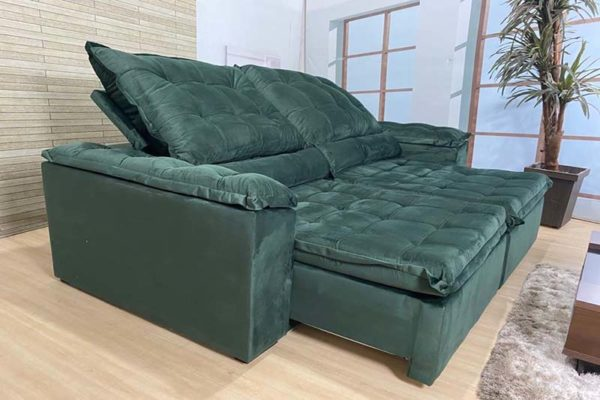 Sofá Retrátil Reclinável 2.30m - Modelo Florença Verde