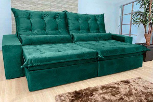 Sofá Retrátil Reclinável 2.30m - Modelo Nairóbi Verde