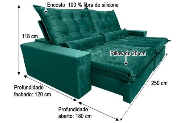 Sofá Retrátil Reclinável 2.50m - Modelo Cairo Verde