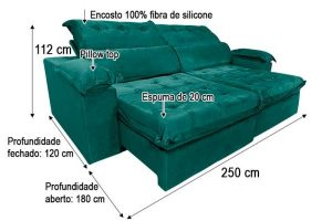 Sofá Retrátil Reclinável 2.50m - Modelo Toronto Verde