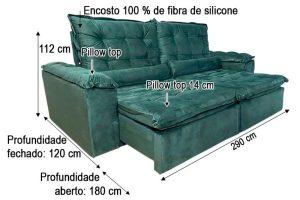 Sofá Retrátil Reclinável 2.90m - Modelo Fernanda Verde